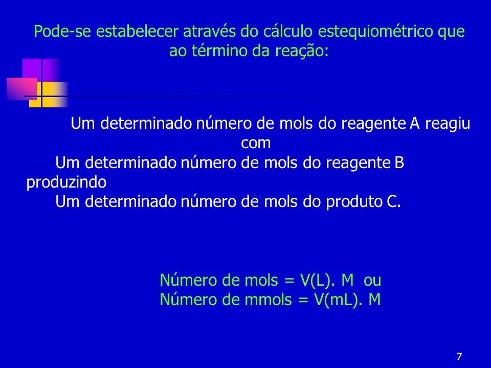 7 Um determinado número de mols do reagente A reagiu com Um determinado número de mols do reagente B produzindo Um determinado número de mols do produ