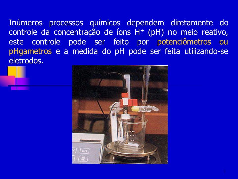 9 Inúmeros processos químicos dependem diretamente do controle da concentração de íons H + (pH) no meio reativo, este controle pode ser feito por pote