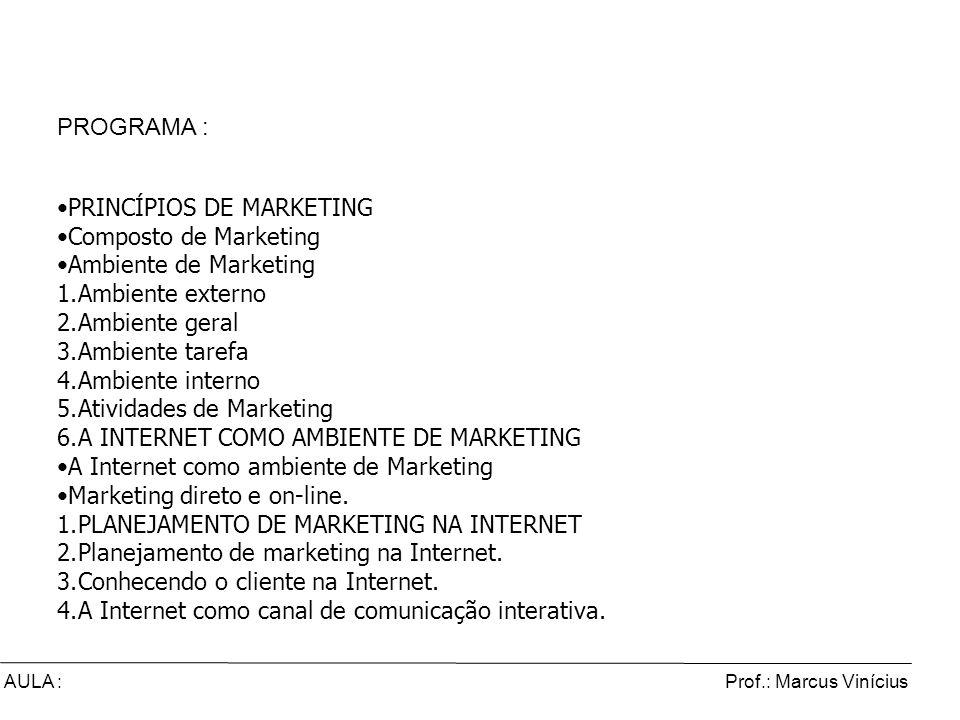 Prof.: Marcus ViníciusAULA : Comércio Eletrônico e Marketing Digital PROGRAMA : PRINCÍPIOS DE MARKETING Composto de Marketing Ambiente de Marketing 1.