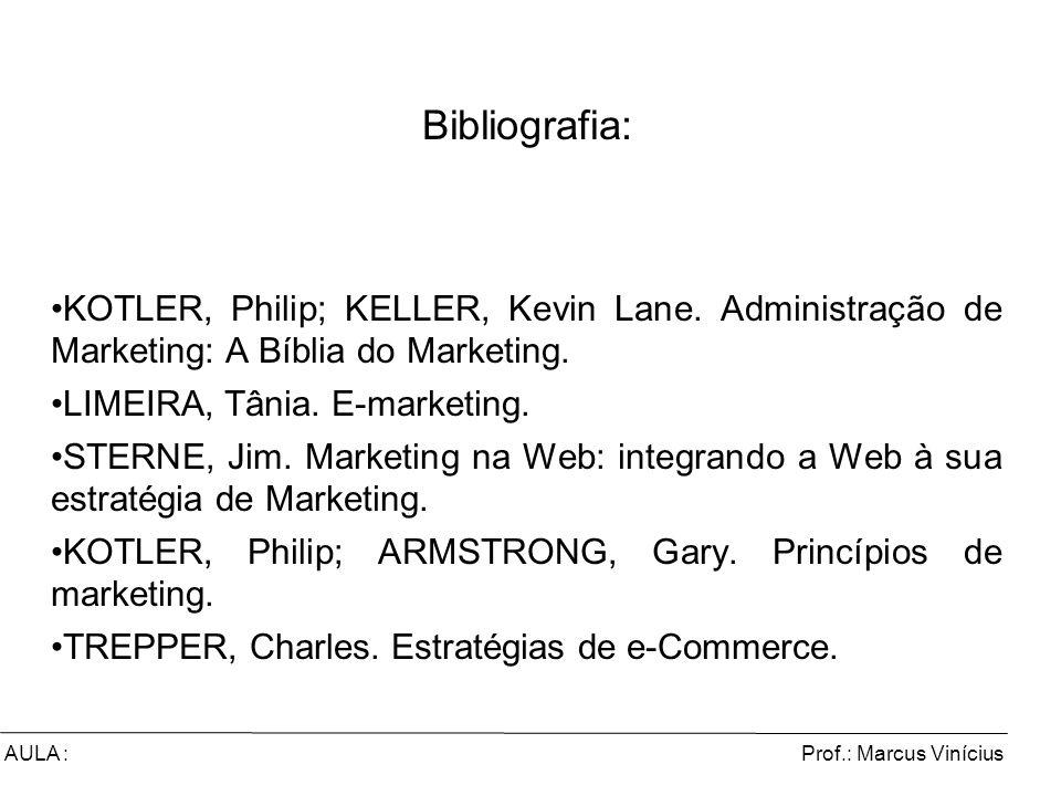 Prof.: Marcus ViníciusAULA : Comércio Eletrônico e Marketing Digital Bibliografia: KOTLER, Philip; KELLER, Kevin Lane. Administração de Marketing: A B