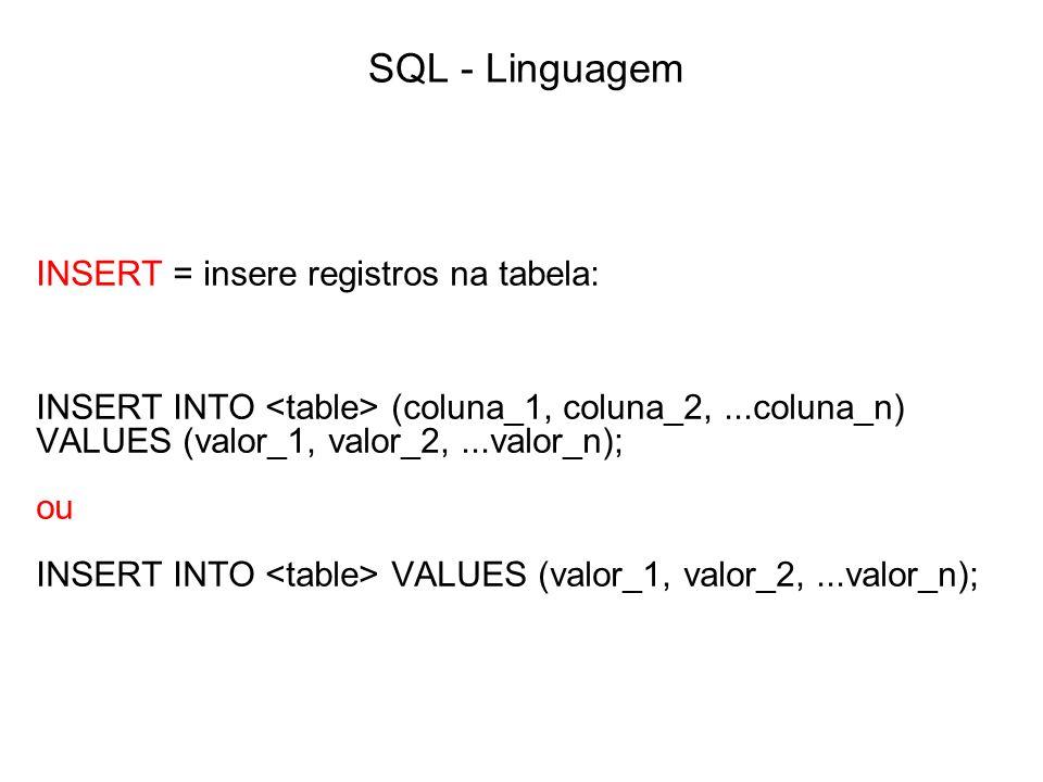 SQL - Linguagem INSERT = insere registros na tabela: INSERT INTO (coluna_1, coluna_2,...coluna_n) VALUES (valor_1, valor_2,...valor_n); ou INSERT INTO