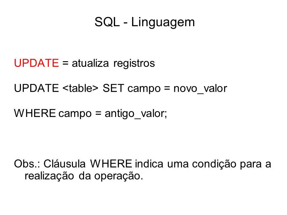 SQL - Linguagem UPDATE = atualiza registros UPDATE SET campo = novo_valor WHERE campo = antigo_valor; Obs.: Cláusula WHERE indica uma condição para a
