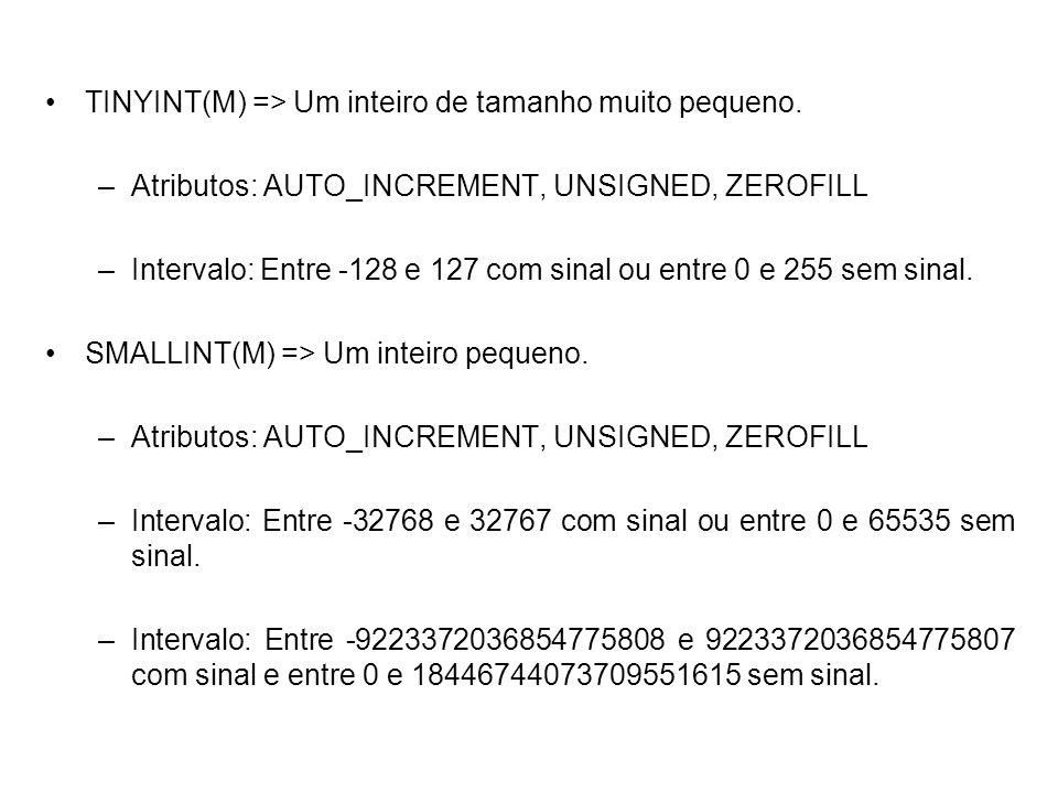 TINYINT(M) => Um inteiro de tamanho muito pequeno. –Atributos: AUTO_INCREMENT, UNSIGNED, ZEROFILL –Intervalo: Entre -128 e 127 com sinal ou entre 0 e