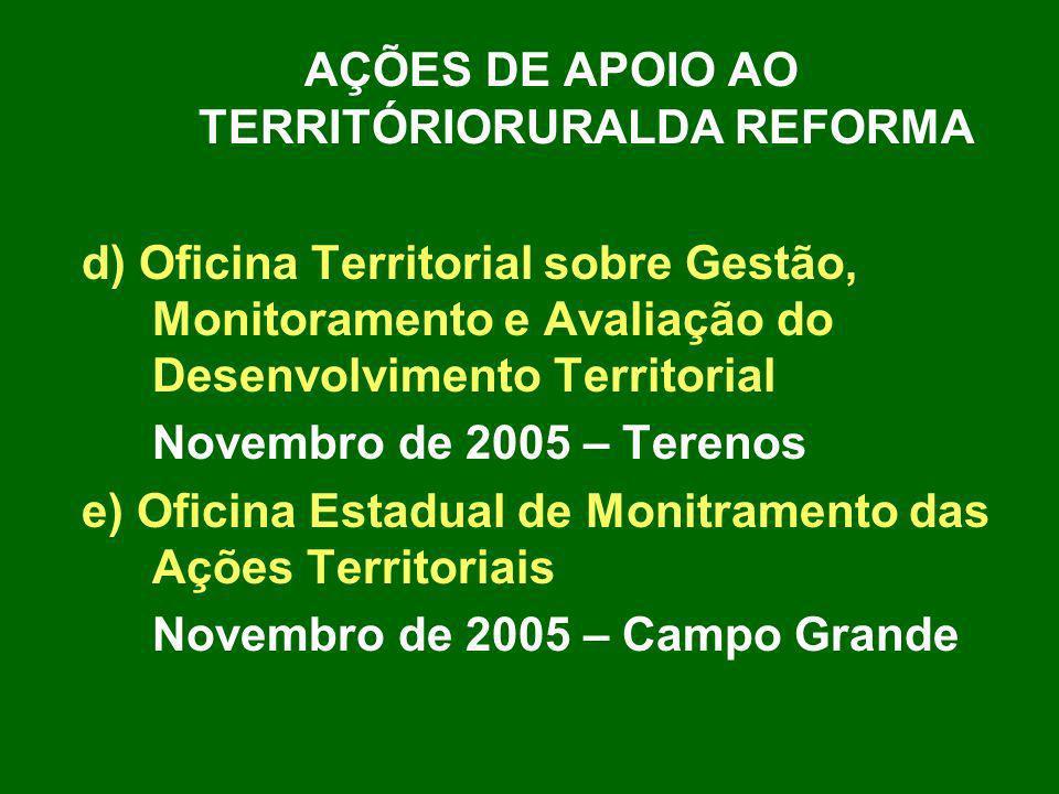 AÇÕES DE APOIO AO TERRITÓRIORURALDA REFORMA d) Oficina Territorial sobre Gestão, Monitoramento e Avaliação do Desenvolvimento Territorial Novembro de