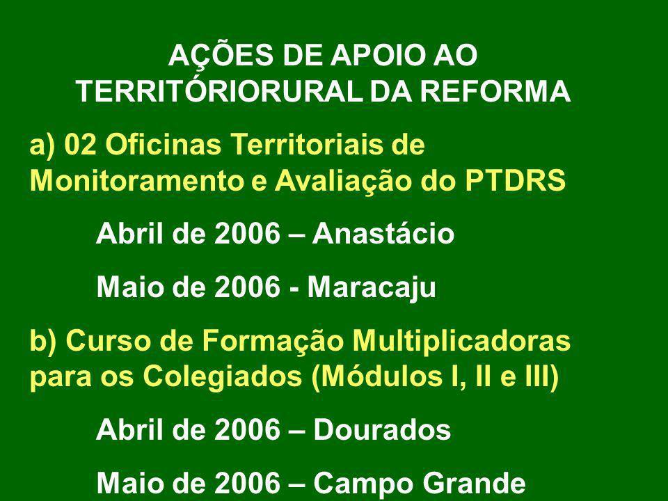 AÇÕES DE APOIO AO TERRITÓRIORURAL DA REFORMA a) 02 Oficinas Territoriais de Monitoramento e Avaliação do PTDRS Abril de 2006 – Anastácio Maio de 2006
