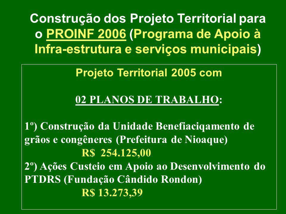 Construção dos Projeto Territorial para o PROINF 2006 (Programa de Apoio à Infra-estrutura e serviços municipais) Projeto Territorial 2005 com 02 PLAN