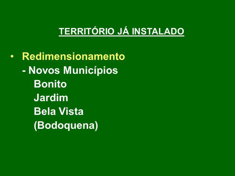 TERRITÓRIO JÁ INSTALADO Redimensionamento - Novos Municípios Bonito Jardim Bela Vista (Bodoquena)