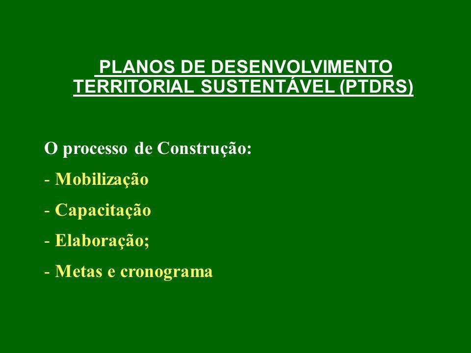 PLANOS DE DESENVOLVIMENTO TERRITORIAL SUSTENTÁVEL (PTDRS) O processo de Construção: - Mobilização - Capacitação - Elaboração; - Metas e cronograma
