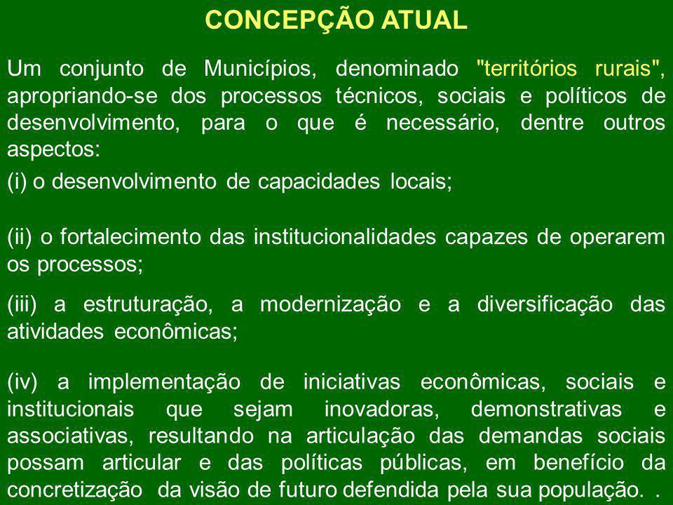 CONCEPÇÃO ATUAL Um conjunto de Municípios, denominado territórios rurais , apropriando-se dos processos técnicos, sociais e políticos de desenvolvimento, para o que é necessário, dentre outros aspectos: (i) o desenvolvimento de capacidades locais; (ii) o fortalecimento das institucionalidades capazes de operarem os processos; (iii) a estruturação, a modernização e a diversificação das atividades econômicas; (iv) a implementação de iniciativas econômicas, sociais e institucionais que sejam inovadoras, demonstrativas e associativas, resultando na articulação das demandas sociais possam articular e das políticas públicas, em benefício da concretização da visão de futuro defendida pela sua população..