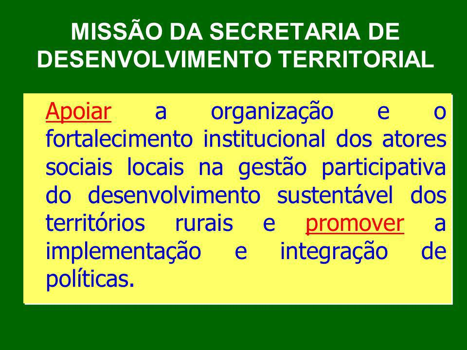 MISSÃO DA SECRETARIA DE DESENVOLVIMENTO TERRITORIAL Apoiar a organização e o fortalecimento institucional dos atores sociais locais na gestão particip