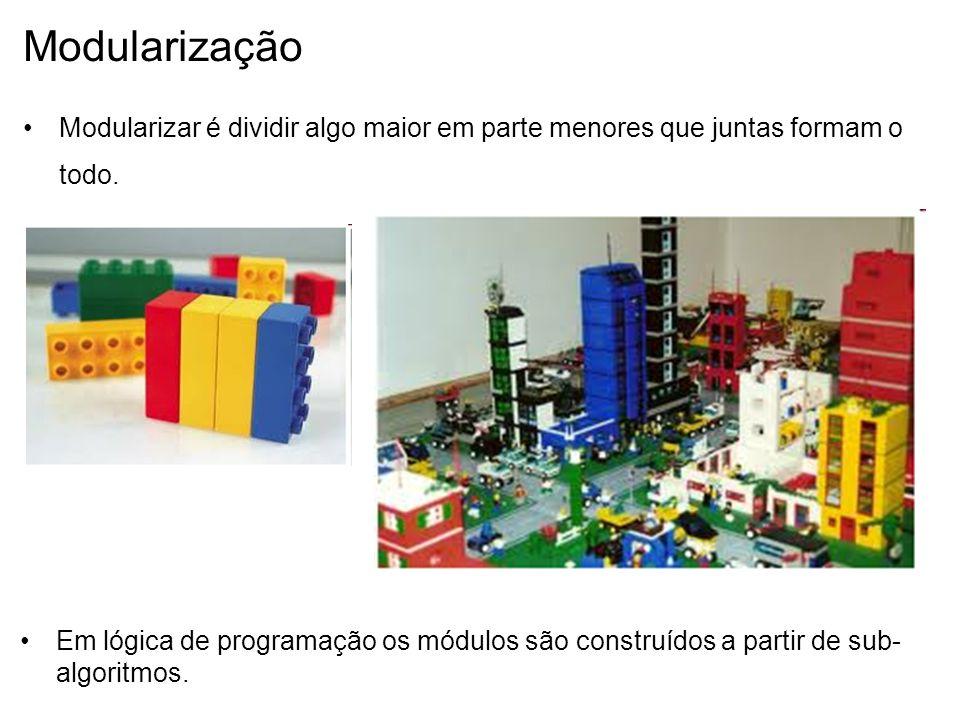 Modularização Modularizar é dividir algo maior em parte menores que juntas formam o todo.