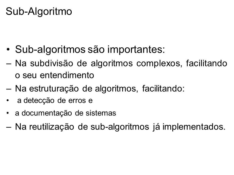Sub-Algoritmo Sub-algoritmos são importantes: –Na subdivisão de algoritmos complexos, facilitando o seu entendimento –Na estruturação de algoritmos, facilitando: a detecção de erros e a documentação de sistemas –Na reutilização de sub-algoritmos já implementados.