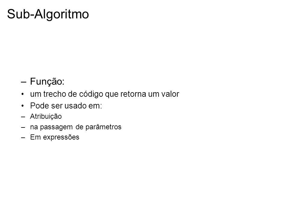 Sub-Algoritmo –Função: um trecho de código que retorna um valor Pode ser usado em: –Atribuição –na passagem de parâmetros –Em expressões