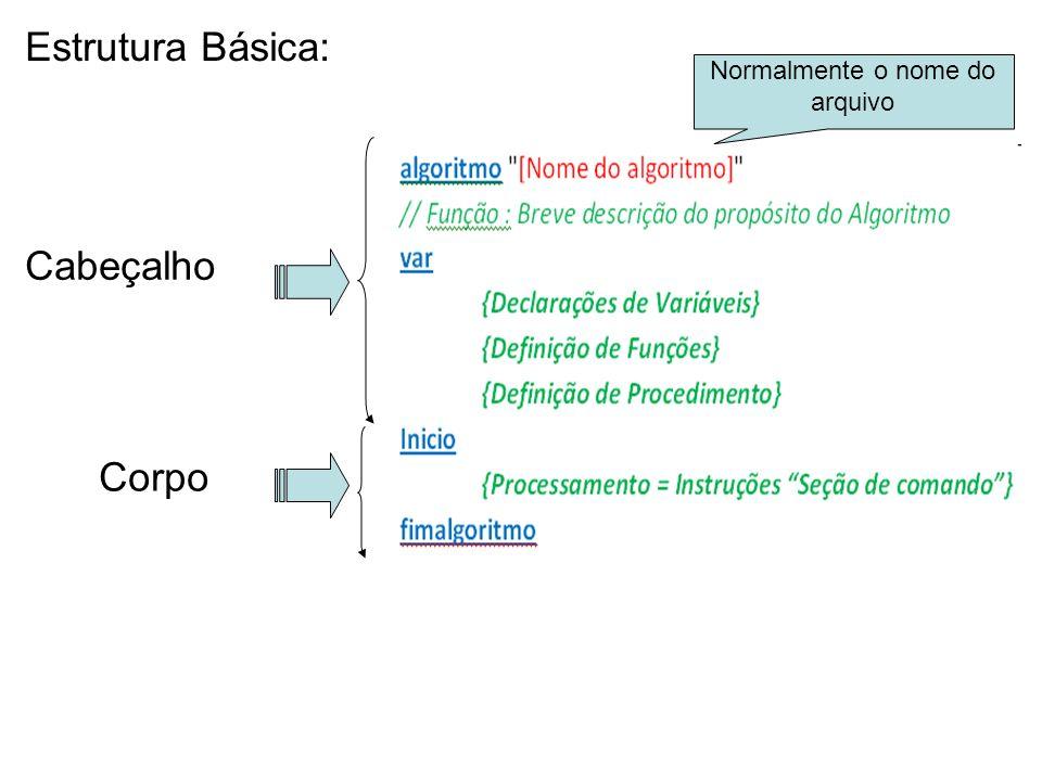 Estrutura Básica: Cabeçalho Corpo Normalmente o nome do arquivo