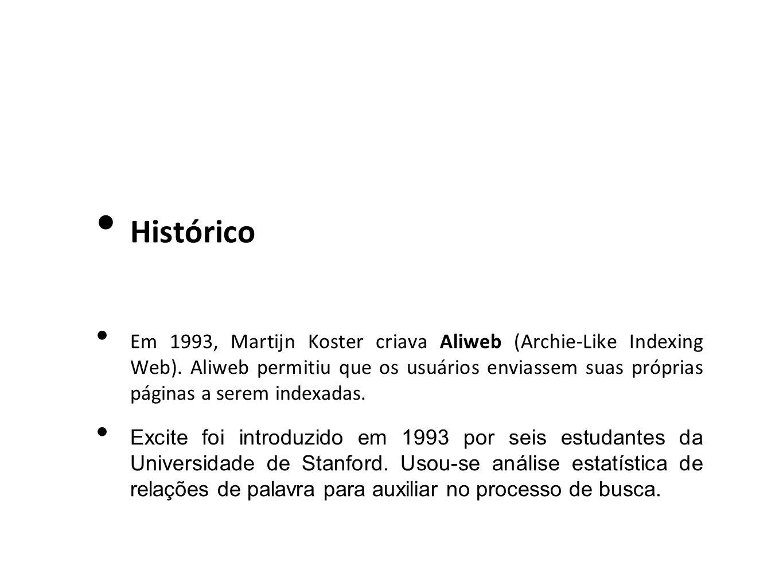 Histórico Em 1993, Martijn Koster criava Aliweb (Archie-Like Indexing Web). Aliweb permitiu que os usuários enviassem suas próprias páginas a serem in