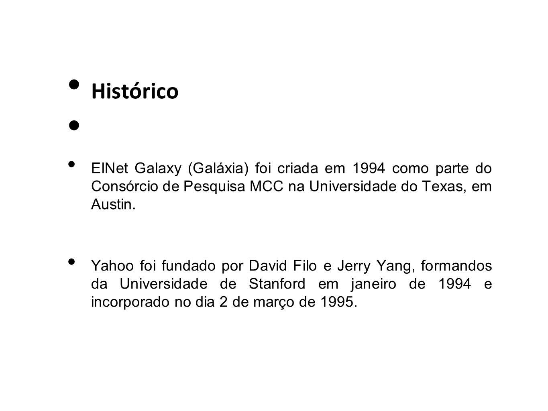Histórico EINet Galaxy (Galáxia) foi criada em 1994 como parte do Consórcio de Pesquisa MCC na Universidade do Texas, em Austin. Yahoo foi fundado por