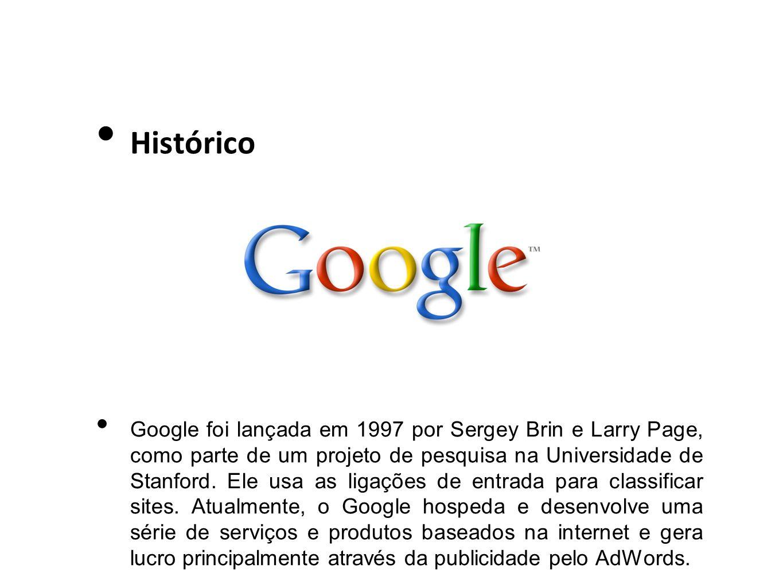 Histórico Google foi lançada em 1997 por Sergey Brin e Larry Page, como parte de um projeto de pesquisa na Universidade de Stanford. Ele usa as ligaçõ