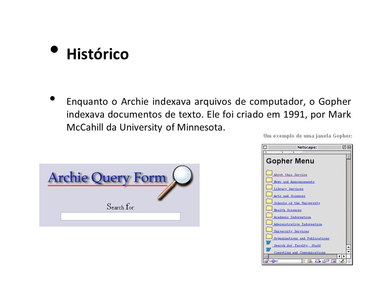Histórico Enquanto o Archie indexava arquivos de computador, o Gopher indexava documentos de texto. Ele foi criado em 1991, por Mark McCahill da Unive