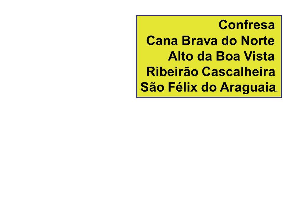 Confresa Cana Brava do Norte Alto da Boa Vista Ribeirão Cascalheira São Félix do Araguaia.