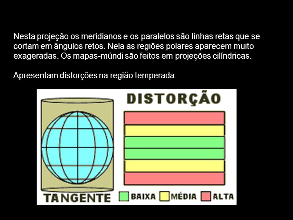 Nesta projeção os meridianos e os paralelos são linhas retas que se cortam em ângulos retos. Nela as regiões polares aparecem muito exageradas. Os map