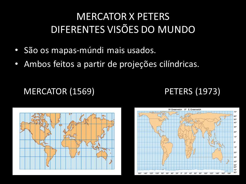 MERCATOR X PETERS DIFERENTES VISÕES DO MUNDO São os mapas-múndi mais usados. Ambos feitos a partir de projeções cilíndricas. MERCATOR (1569) PETERS (1