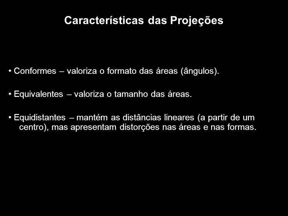 Características das Projeções Conformes – valoriza o formato das áreas (ângulos). Equivalentes – valoriza o tamanho das áreas. Equidistantes – mantém