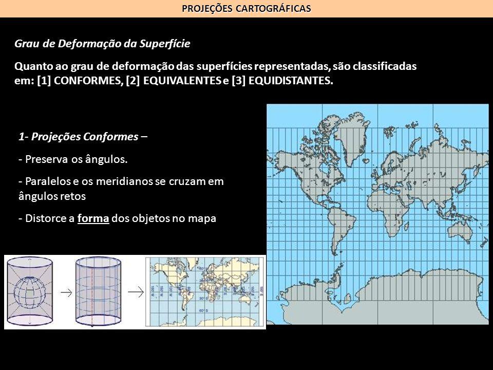 PROJEÇÕES CARTOGRÁFICAS Grau de Deformação da Superfície Quanto ao grau de deformação das superfícies representadas, são classificadas em: [1] CONFORM