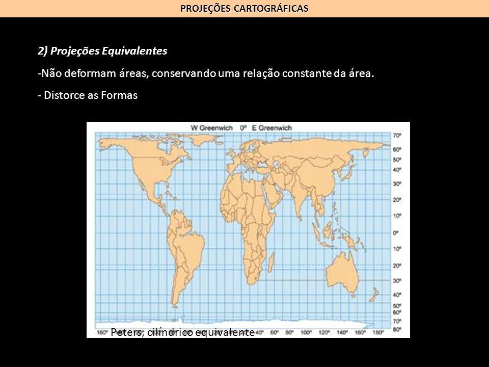 PROJEÇÕES CARTOGRÁFICAS 2) Projeções Equivalentes -Não deformam áreas, conservando uma relação constante da área. - Distorce as Formas Peters, cilíndr