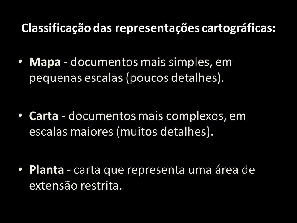 Classificação das representações cartográficas: Mapa - documentos mais simples, em pequenas escalas (poucos detalhes). Carta - documentos mais complex
