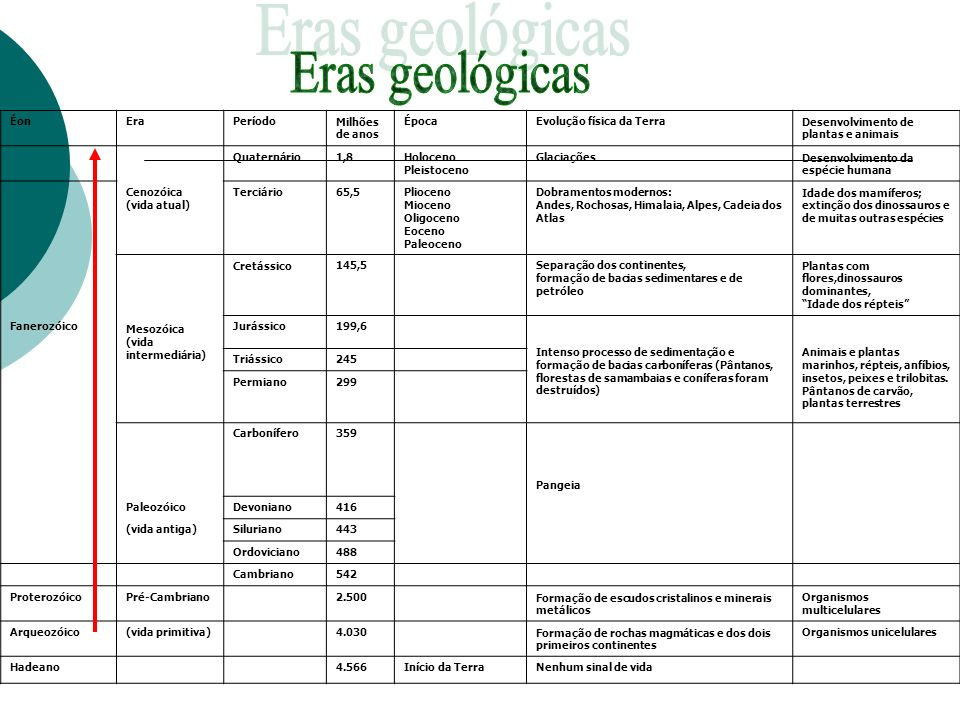 ÉonEraPeríodoMilhões de anos ÉpocaEvolução física da TerraDesenvolvimento de plantas e animais Quaternário1,8Holoceno Pleistoceno GlaciaçõesDesenvolvi