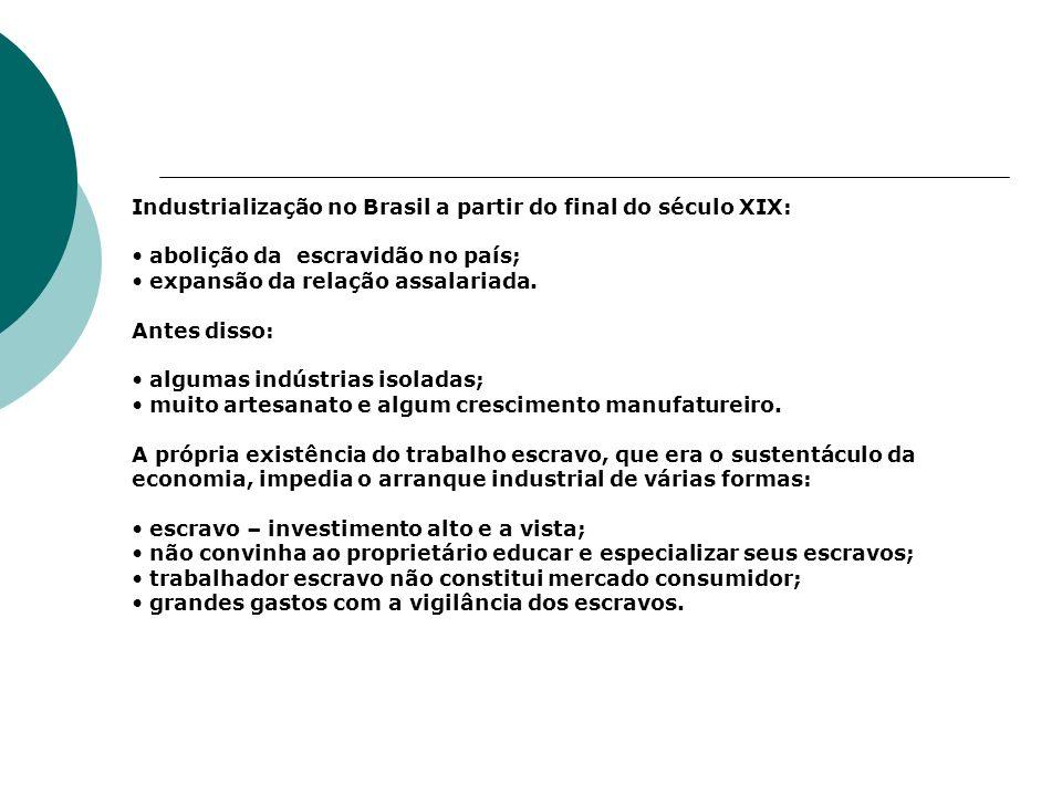 Industrialização no Brasil a partir do final do século XIX: abolição da escravidão no país; expansão da relação assalariada. Antes disso: algumas indú