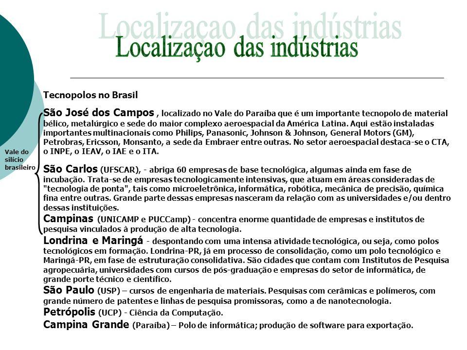 Tecnopolos no Brasil São José dos Campos, localizado no Vale do Paraíba que é um importante tecnopolo de material bélico, metalúrgico e sede do maior