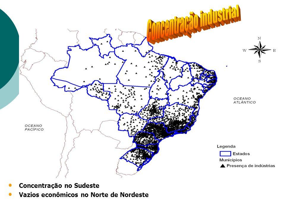 Concentração no Sudeste Vazios econômicos no Norte de Nordeste