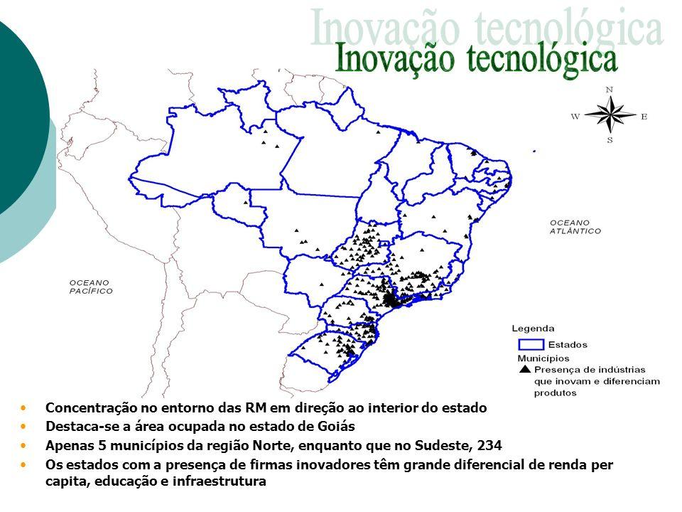 Concentração no entorno das RM em direção ao interior do estado Destaca-se a área ocupada no estado de Goiás Apenas 5 municípios da região Norte, enqu