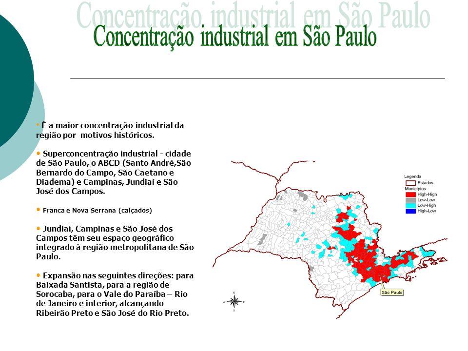 É a maior concentração industrial da região por motivos históricos. Superconcentração industrial - cidade de São Paulo, o ABCD (Santo André,São Bernar