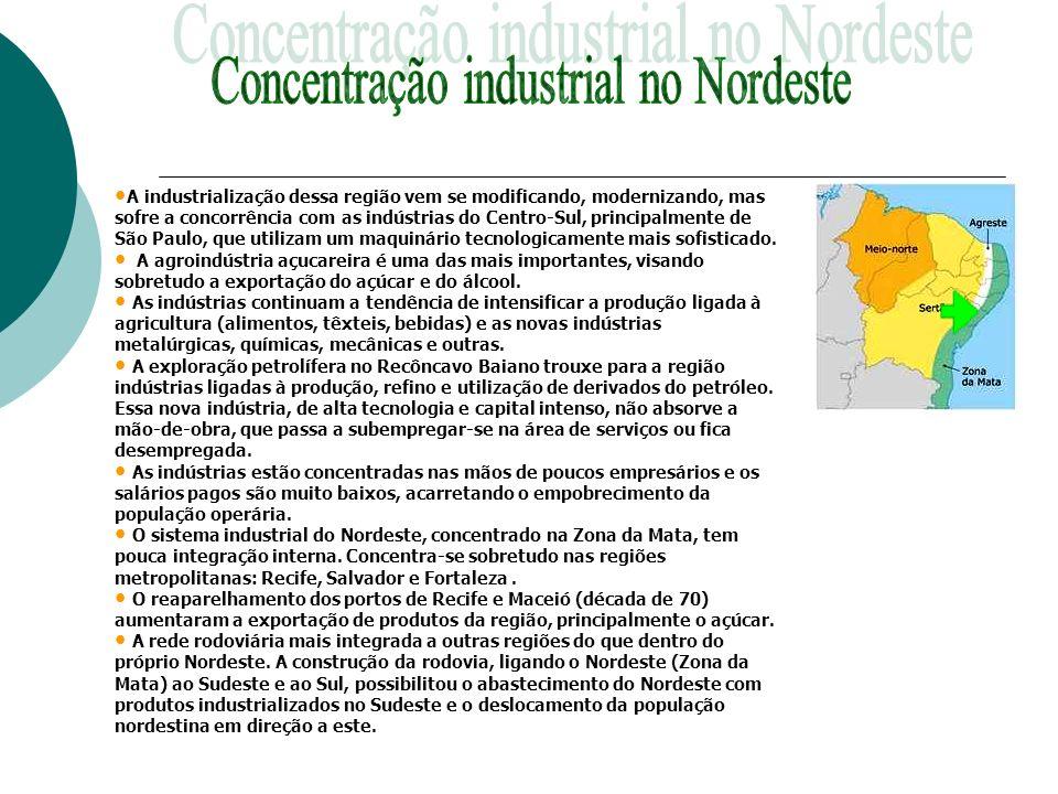 A industrialização dessa região vem se modificando, modernizando, mas sofre a concorrência com as indústrias do Centro-Sul, principalmente de São Paul