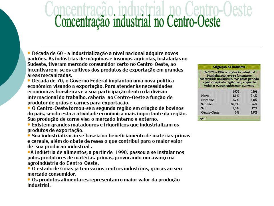 Década de 60 - a industrialização a nível nacional adquire novos padrões. As indústrias de máquinas e insumos agrícolas, instaladas no Sudeste, tivera