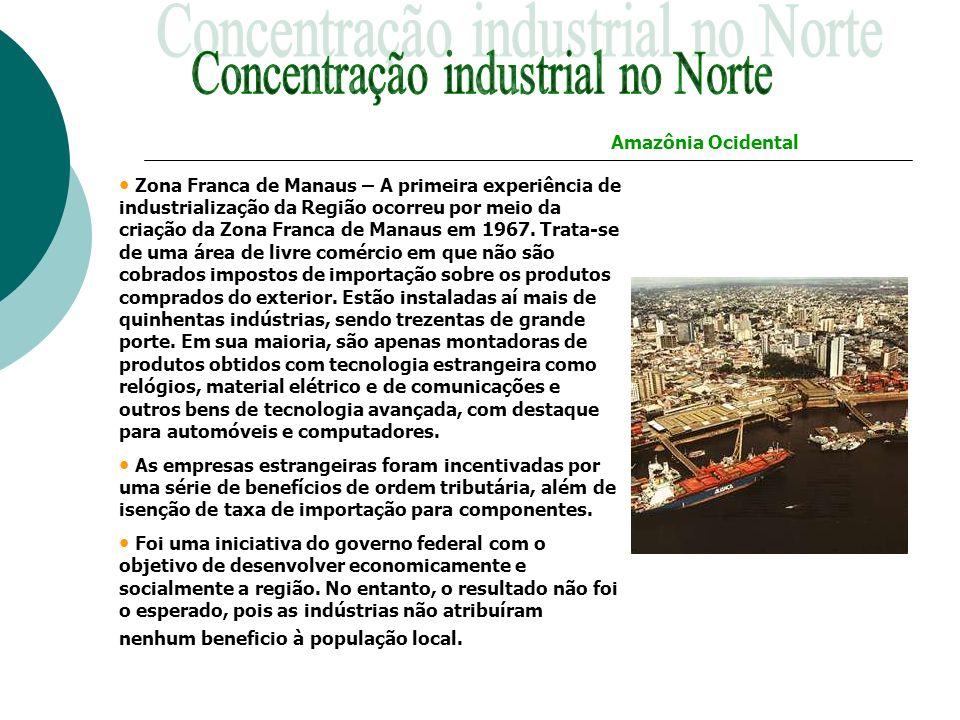 Zona Franca de Manaus – A primeira experiência de industrialização da Região ocorreu por meio da criação da Zona Franca de Manaus em 1967. Trata-se de