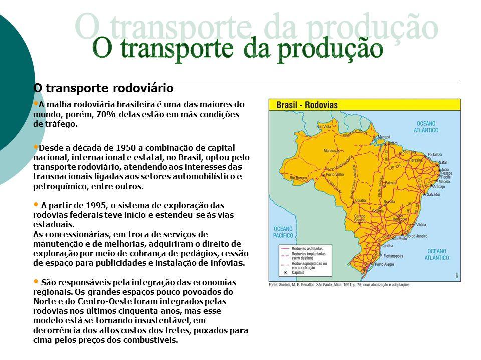 O transporte rodoviário A malha rodoviária brasileira é uma das maiores do mundo, porém, 70% delas estão em más condições de tráfego. Desde a década d