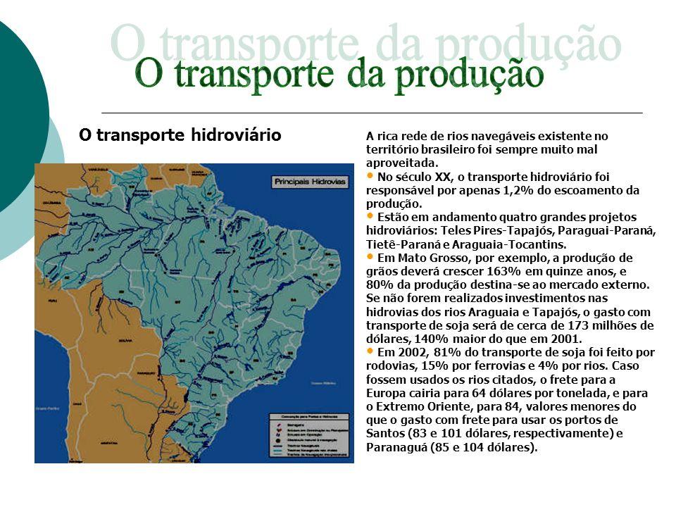 A rica rede de rios navegáveis existente no território brasileiro foi sempre muito mal aproveitada. No século XX, o transporte hidroviário foi respons