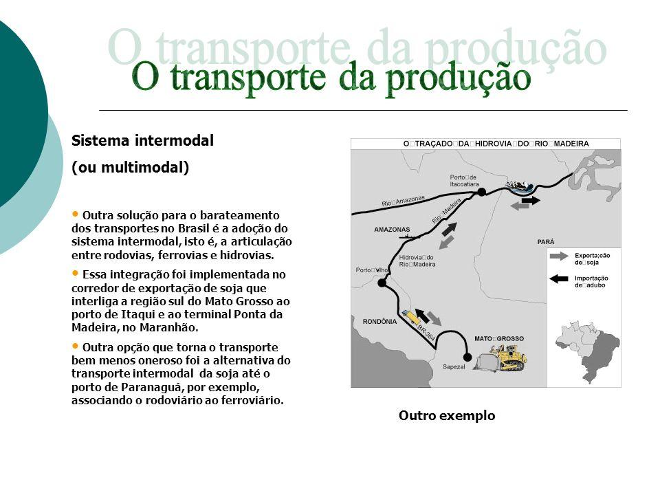 Sistema intermodal (ou multimodal) Outra solução para o barateamento dos transportes no Brasil é a adoção do sistema intermodal, isto é, a articulação