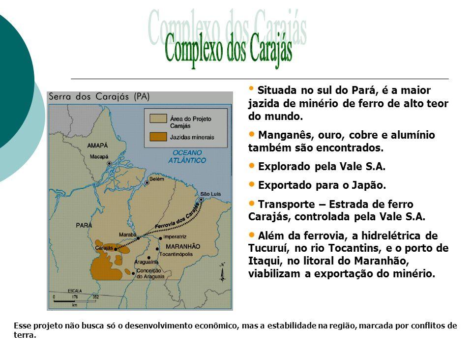 Situada no sul do Pará, é a maior jazida de minério de ferro de alto teor do mundo. Manganês, ouro, cobre e alumínio também são encontrados. Explorado