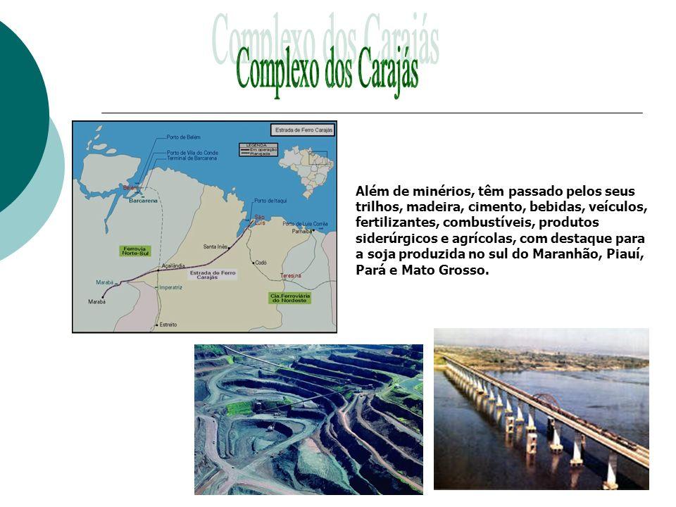 Além de minérios, têm passado pelos seus trilhos, madeira, cimento, bebidas, veículos, fertilizantes, combustíveis, produtos siderúrgicos e agrícolas,