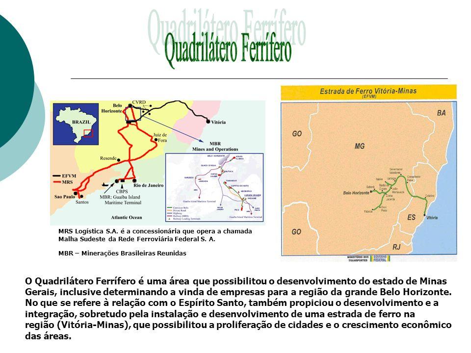 MRS Logística S.A. é a concessionária que opera a chamada Malha Sudeste da Rede Ferroviária Federal S. A. MBR – Minerações Brasileiras Reunidas O Quad
