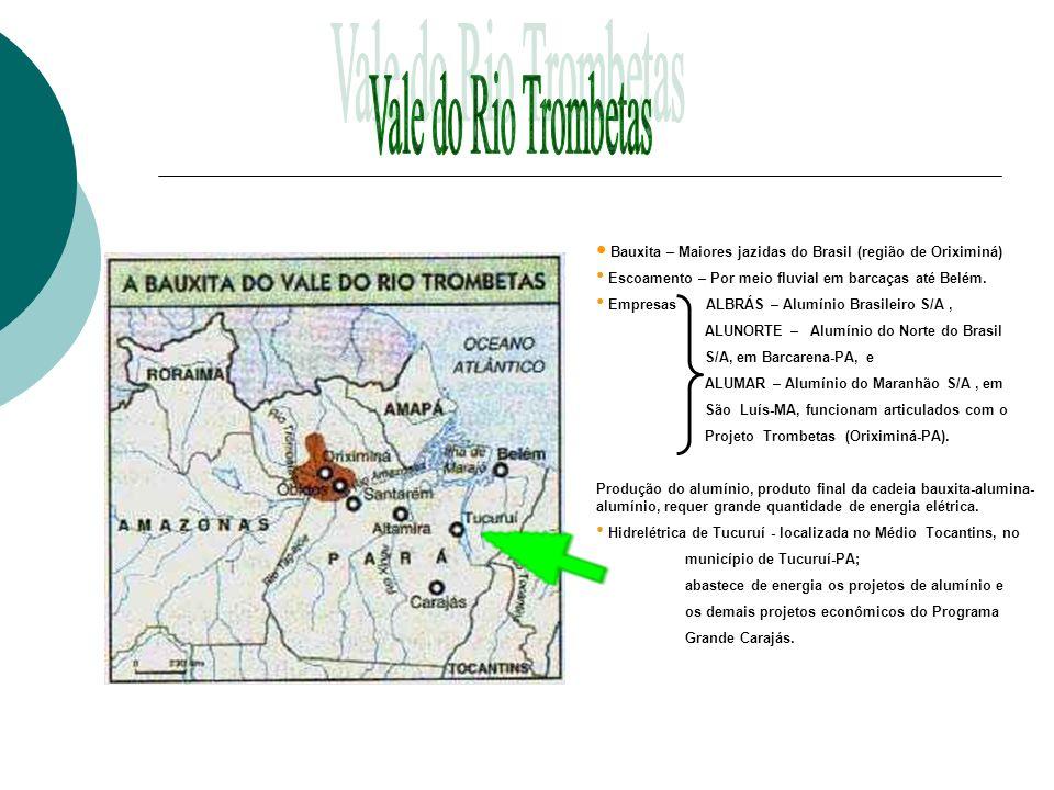 Bauxita – Maiores jazidas do Brasil (região de Oriximiná) Escoamento – Por meio fluvial em barcaças até Belém. Empresas ALBRÁS – Alumínio Brasileiro S