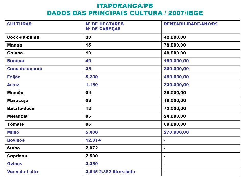 ITAPORANGA/PB DADOS DAS PRINCIPAIS CULTURA / 2007/IBGE CULTURASNº DE HECTARES Nº DE CABEÇAS RENTABILIDADE/ANO/R$ Coco-da-bahia3042.000,00 Manga1578.00