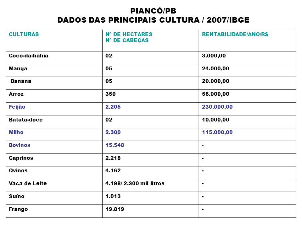 PIANCÓ/PB DADOS DAS PRINCIPAIS CULTURA / 2007/IBGE CULTURASNº DE HECTARES Nº DE CABEÇAS RENTABILIDADE/ANO/R$ Coco-da-bahia023.000,00 Manga0524.000,00