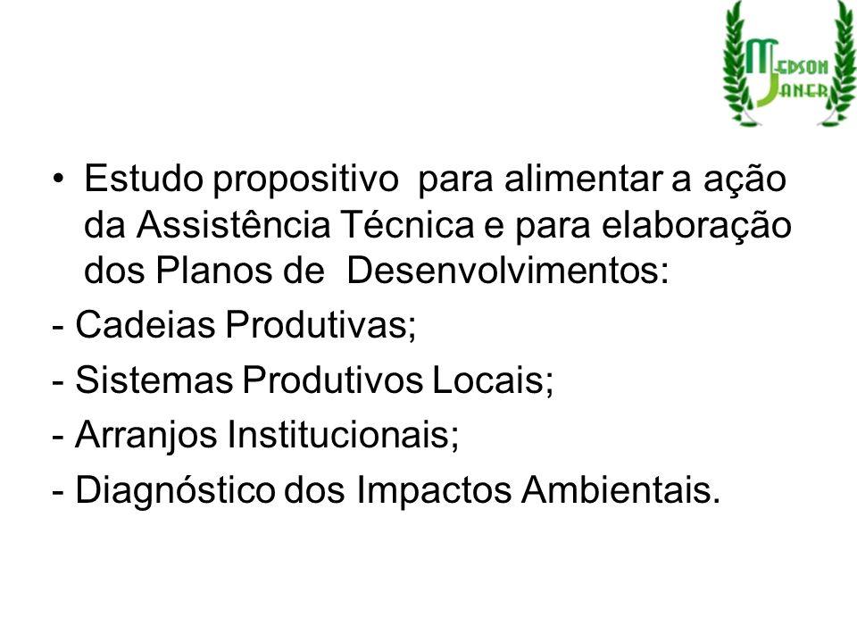 Estudo propositivo para alimentar a ação da Assistência Técnica e para elaboração dos Planos de Desenvolvimentos: - Cadeias Produtivas; - Sistemas Pro