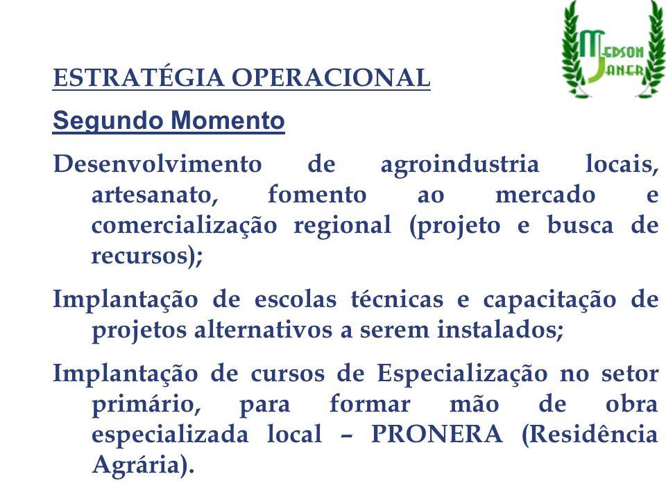 ESTRATÉGIA OPERACIONAL Segundo Momento Desenvolvimento de agroindustria locais, artesanato, fomento ao mercado e comercialização regional (projeto e b
