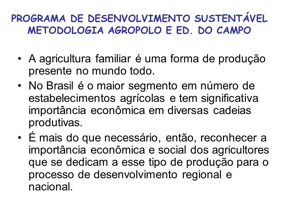 PROGRAMA DE DESENVOLVIMENTO SUSTENTÁVEL METODOLOGIA AGROPOLO E ED. DO CAMPO A agricultura familiar é uma forma de produção presente no mundo todo. No